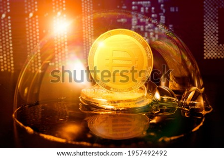 MakerDAO DAI bubble. MakerDAO DAI coin in a soap bubble. Dangers and risks of investing to DAI cryptocurrency. Speculation, drop, down