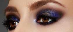 Makeup and cosmetics. Beauty perfect face. Close-up of woman eye with beautiful arabic makeup