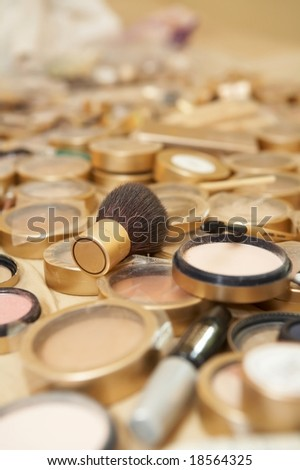 Makeup and cosmetics, DOF focus on brush
