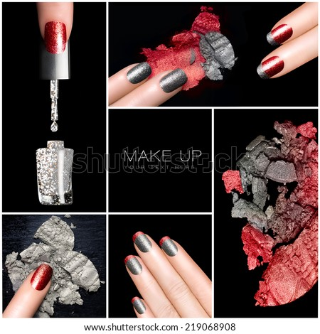 Makeup and nail art trend. Trendy manicure and make-up set. Five Isolated macro pictures over black background. Manicure and makeup concept. Eye shadows and nail polish in red and silver