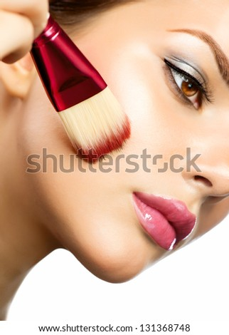 Makeup Applying. Foundation for Perfect Makeup. Apply Make-up. Cosmetic.