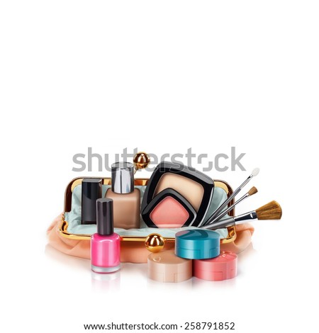 Makeup bag with cosmetics, isolated on white