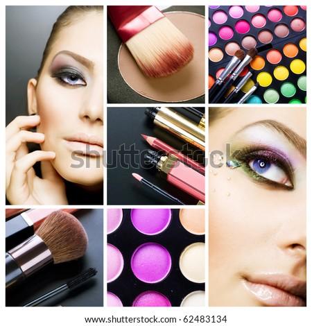 Stock Photo Makeup.Beautiful Make-up collage