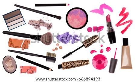 makeup brush and cosmetics, on a white background isolated, with clipping path Zdjęcia stock ©