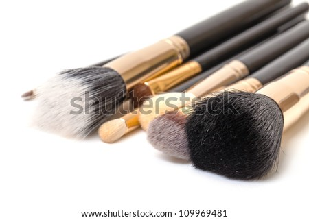 Makeup Brush Set, on white background - stock photo