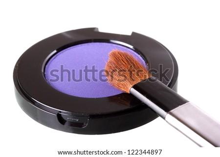 Makeup brush with eye shadow