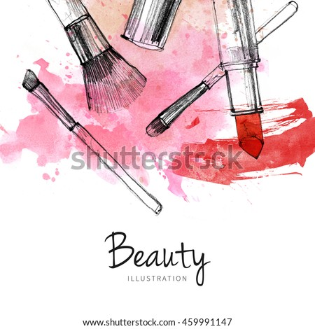 Makeup brush with smear, lipstick on white background. Watercolor, pencil drawn cosmetics fashion illustration. Vintage invitation card design, postcard, banner template.