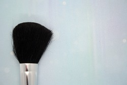 Makeup brushes on lightblue background. Space for text.