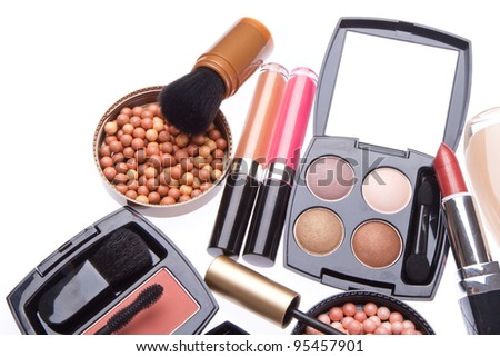 makeup collection isolated on white background - stock photo