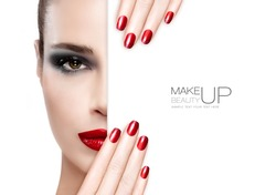Makeup Concept. Beautiful fashion model girl with smoky eye makeup, foundation on a unblemished skin and trendy red lipstick to match her manicured nails, half face with a white card template