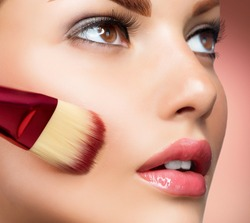 Makeup. Cosmetic. Base for Perfect Make-up.Applying Make-up