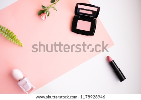 Makeup cosmetic products color background flat lay top view.woman beauty fashion decorative. #1178928946