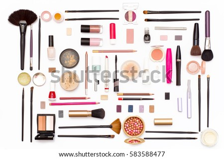 makeup cosmetics, brushes and accessories on white background. Top view. Flat lay. beauty concept. #583588477