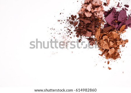 Makeup cosmetics. Eyeshadow crushed palette, colorful eye shadow powder on white background #614982860
