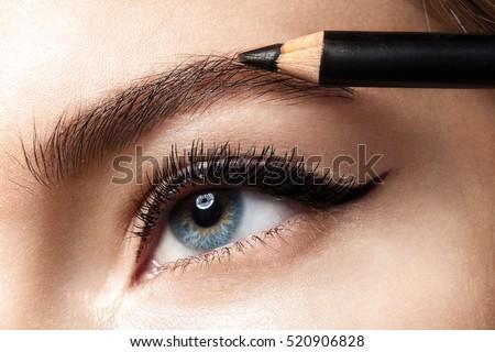 Makeup eyebrow pencil. Close-up photo.
