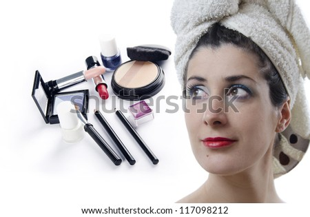 Makeup kit and girl