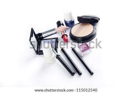 Makeup kit on white