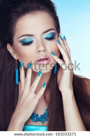 Makeup. Manicured nails. Glamour Fashion Woman Portrait.