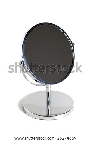 Makeup mirror over a white background