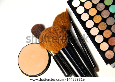 Makeup palette and brushes for professional makeup