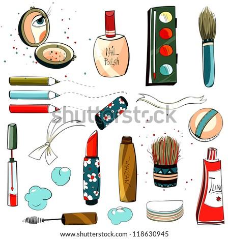 Makeup Set Colorful Illustration. Raster variant.