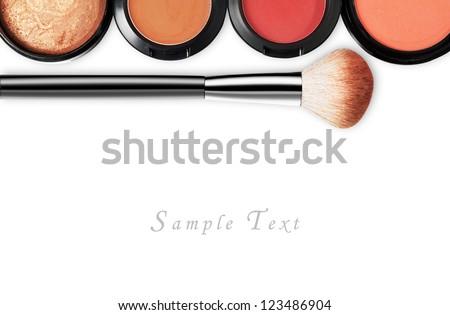 makeup set isolated on white background - stock photo