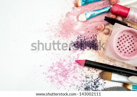 makeup set isolated on white background