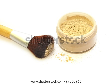 Makeup set powder and brush isolate on white