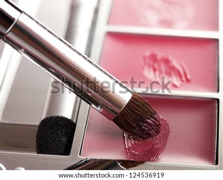 makeup set with brush closeup