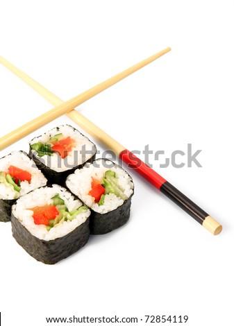 Maki sushi. Japanese cuisine on white