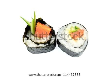 Maki sushi with avocado and salmon