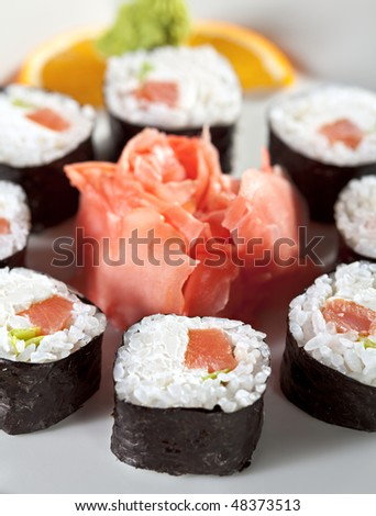 Maki Sushi with Smoked Salmon, Cream Cheese and Spring Onion inside