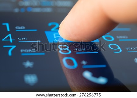 Making a dial on a smartphone, close up