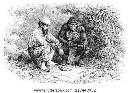 Making a Necklace in Oiapoque, Brazil, drawing by Riou from a sketch by Dr. Crevaux, vintage engraved illustration. Le Tour du Monde, Travel Journal, 1880 Photo stock ©