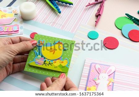 Making a scrap booking easter wish card/Scrapbook, Craft, Art