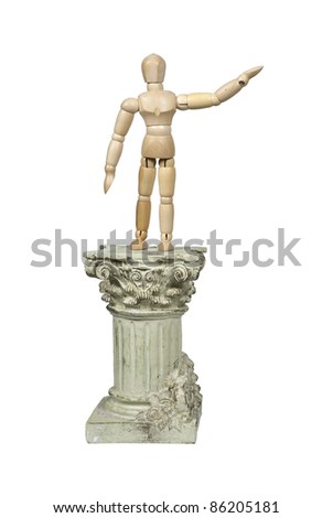 Making a speech shown by a model on a stone formal pedestal - path included