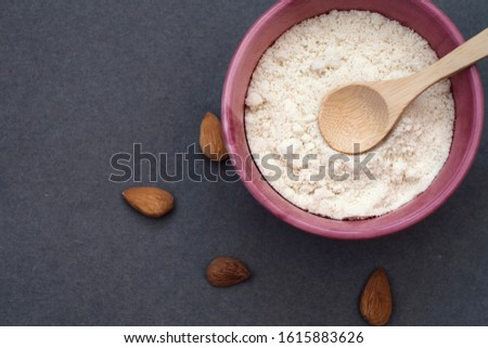Making almond flour from almonds at home. Gluten-free food. Vegetarian food
