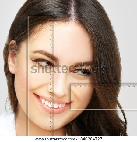 Making Beauty, modifying face to make it closer to the Golden Mask,plastic surgery. correction of asymmetry. Foto stock ©