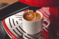 Making coffee with espresso machine