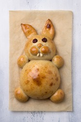 Making Easter Bunny Buns of delicious sweet dough for a child. Do it yourself. Step by step instruction. Step 5. Bake the Easter Bunny Bun. Happy easter!