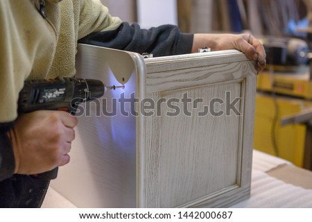 Making furniture from wood. Work carpenter. Carpentry tools. Carpentry workshop #1442000687