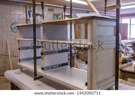 Making furniture from wood. Work carpenter. Carpentry tools. Carpentry workshop #1442000711