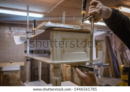 Making furniture from wood. Work carpenter. Carpentry tools. Carpentry workshop #1446561785