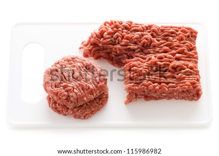 making hamburgers from ground beef isolated on a white background