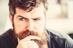 Making hard decision. Man with beard and mustache thoughtful troubled. Bearded man concentrated face. Hipster with beard thoughtful expression. Thoughtful mood concept. Making important life choices.