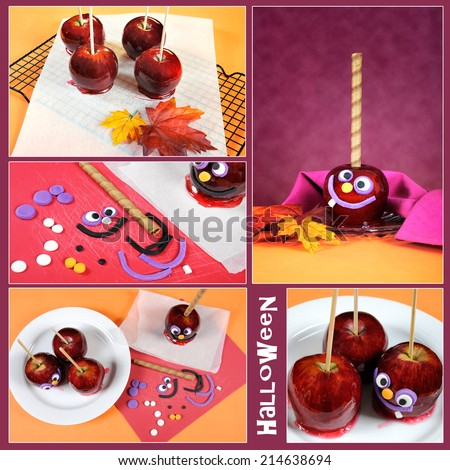 Making homemade Happy Halloween toffee caramel candy apples with crazy smiling faces for trick or treating collage of five images with sample text.