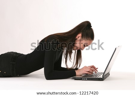 making look younger girl with laptop in house