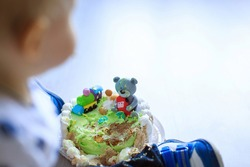 Making messy cake. Kid celebrating first birthday. Little boy smash 1st birthday cake. Close up Photo. Playful baby boy playing with destroyed sweet celebration dessert. Focus on bear. Copy space