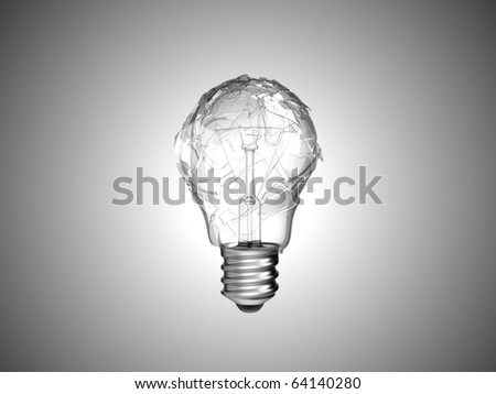 Making mistake. Broken lightbulb over grey background - stock photo