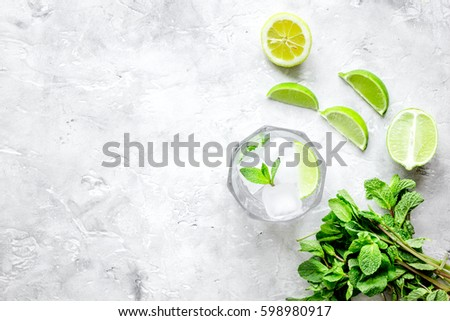 making mojito on stone background top view #598980917